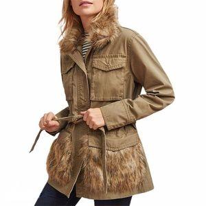 •Anthropologie• Fur Trimmed Field Parka